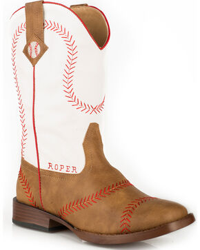 Roper Boys' Baseball Cowboy Boots - Square Toe, Tan, hi-res