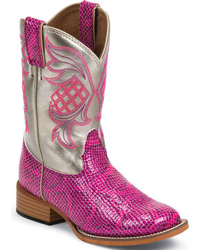 Justin Kid's Bent Rail Pink Snake Print Western Boots - Broad Square Toe , Pink, hi-res