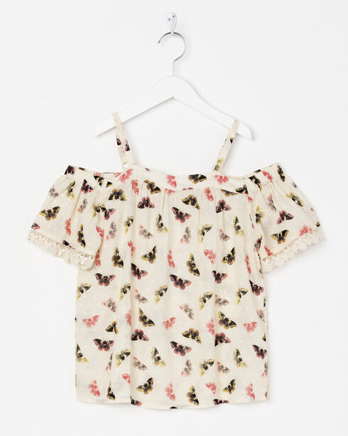 Miss Me Girls' Cream Flutter and Fly Top , Cream, hi-res