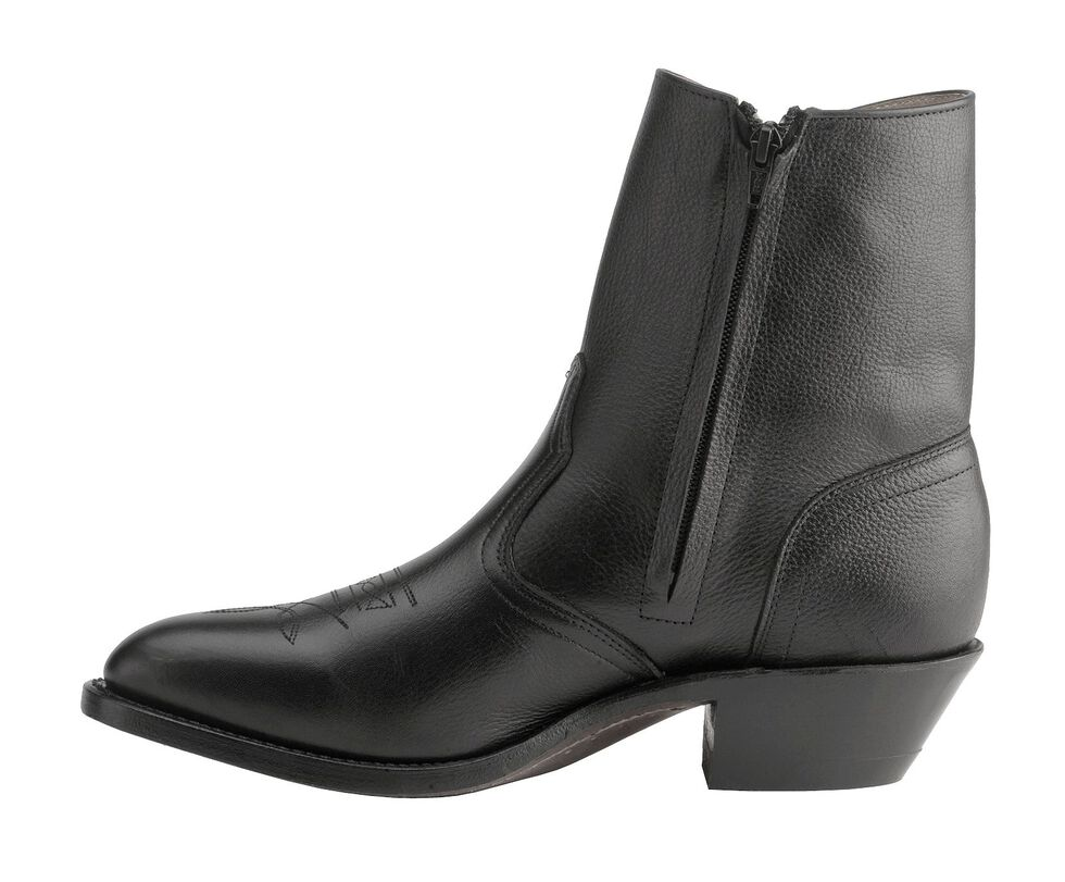 Boulet Men's Western Zipper Boots - Medium Toe, Black, hi-res