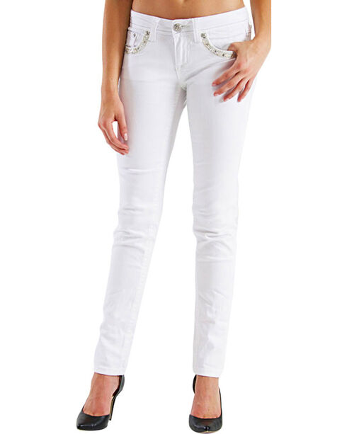 Grace in LA Women's Embroidered Diamond Skinny Jeans, White, hi-res