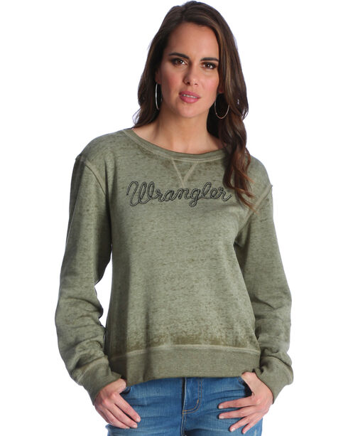 Wrangler Women's Olive Logo Fleece Crew Top , Olive, hi-res