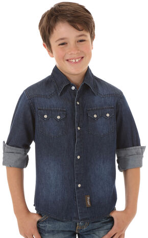 Wrangler Boys' Denim Long Sleeve Shirt, Indigo, hi-res