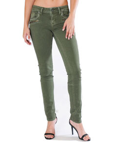 Grace in LA Women's Green Moto Jeans - Skinny , Green, hi-res