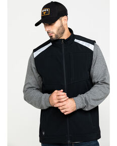 Hawx Men's Black Reflective Softshell Moto Work Vest , Black, hi-res