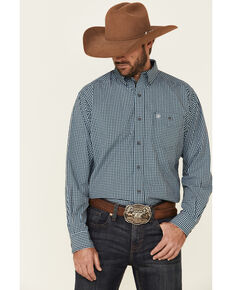 Ariat Men's Instrumental Stretch Small Plaid Long Sleeve Western Shirt , Black, hi-res