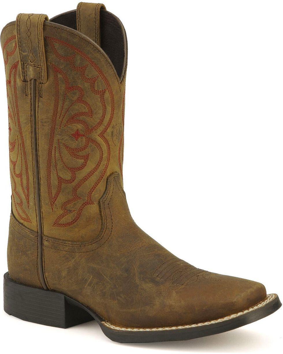 Ariat Boys' Quickdraw Cowboy Boots - Square Toe, Distressed, hi-res
