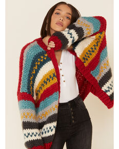 Wishlist Women's Red Striped Sweater Knit Cardigan , Red, hi-res