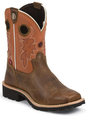 Tony Lama Boys' 3R Western Boots - Square Toe, Tan, hi-res