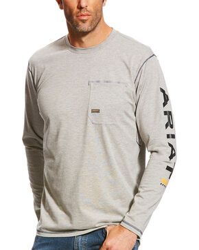 Ariat Men's Rebar Heather Grey Long Sleeve Logo Crew T-Shirt, Heather Grey, hi-res
