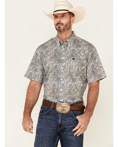 Cinch Men's Grey Paisley Print Short Sleeve Button-Down Western Shirt , Grey, hi-res