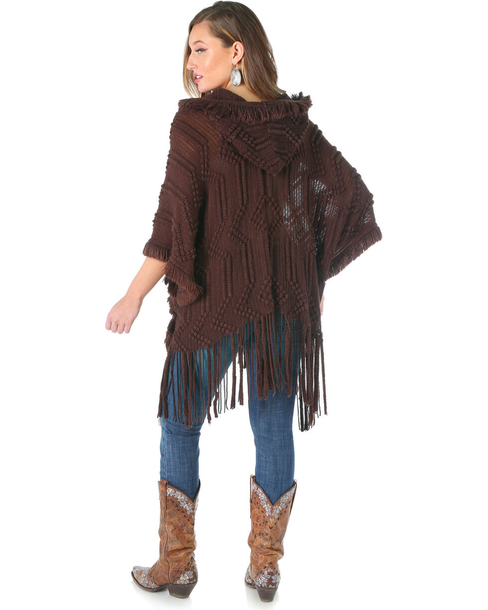 Wrangler Women's Hooded Fringe Cardigan, Dark Brown, hi-res
