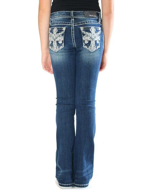 Grace in LA Girls' Indigo Cross Pocket Jeans - Boot Cut , Indigo, hi-res