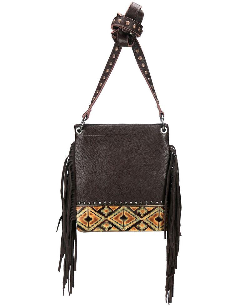 Montana West Women's Embossed Aztec Crossbody Bag, Coffee, hi-res
