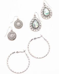 Shyanne Women's Autumn 3 Piece Twisted Hoop Earring Set , Silver, hi-res