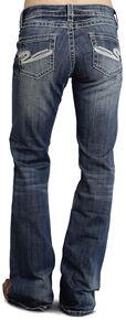 """Stetson Women's 816 Fit White """"S"""" Stitch Bootcut Jeans - Plus, Denim, hi-res"""
