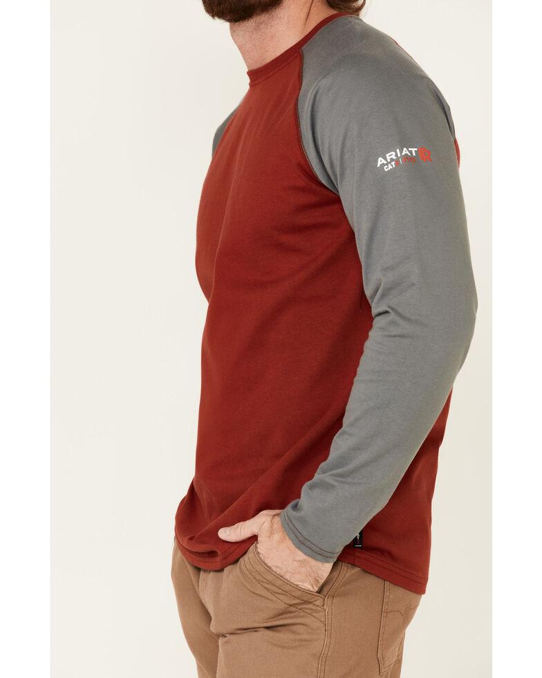 Ariat Men's FR Red & Grey Long Sleeve Baseball Work T-Shirt , Red, hi-res