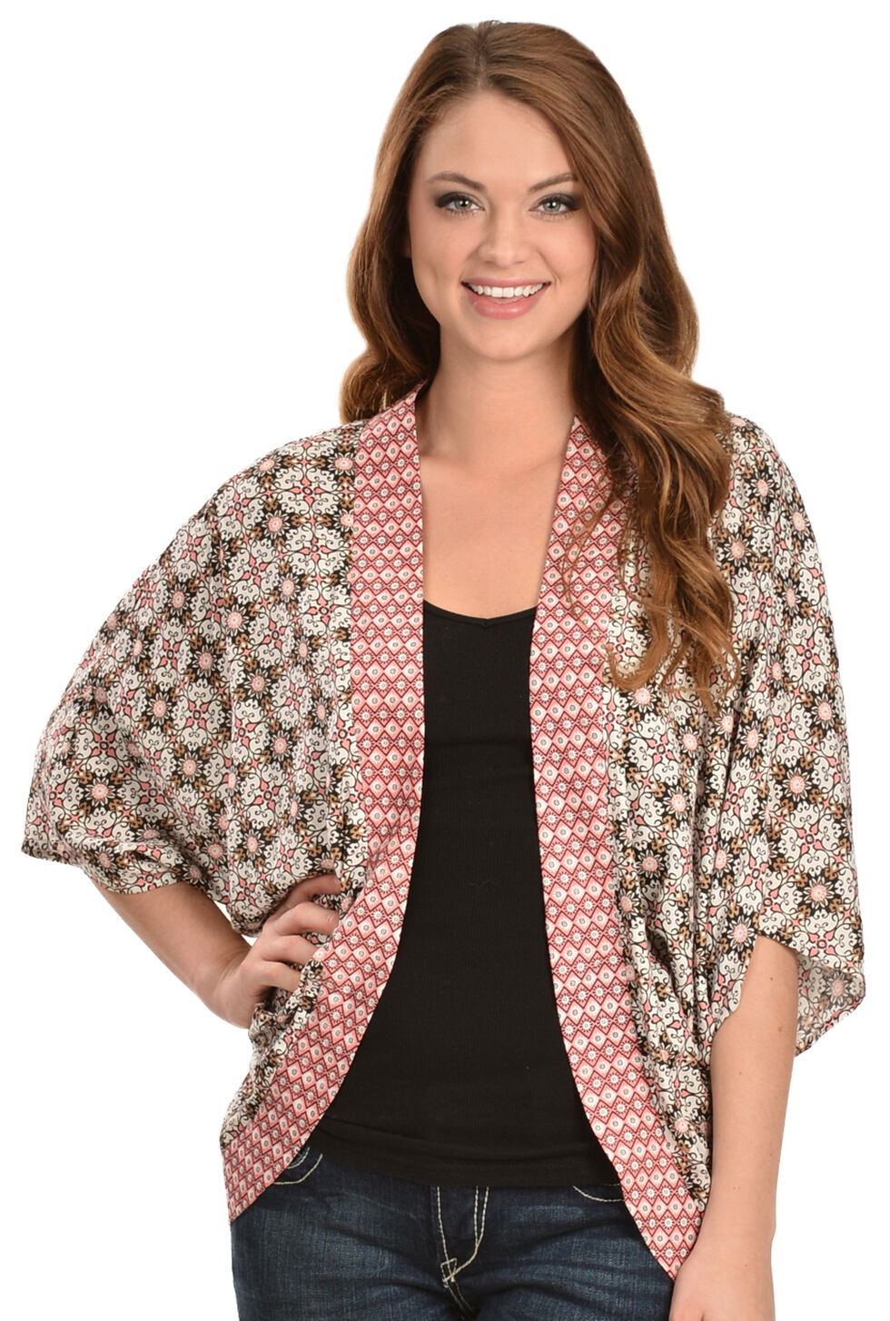 Red Ranch Women's Print Cocoon Top, Black, hi-res
