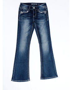 Grace In LA Girls' Heavy Stitch Butterfly Pocket Embellished Bootcut Jeans, Blue, hi-res