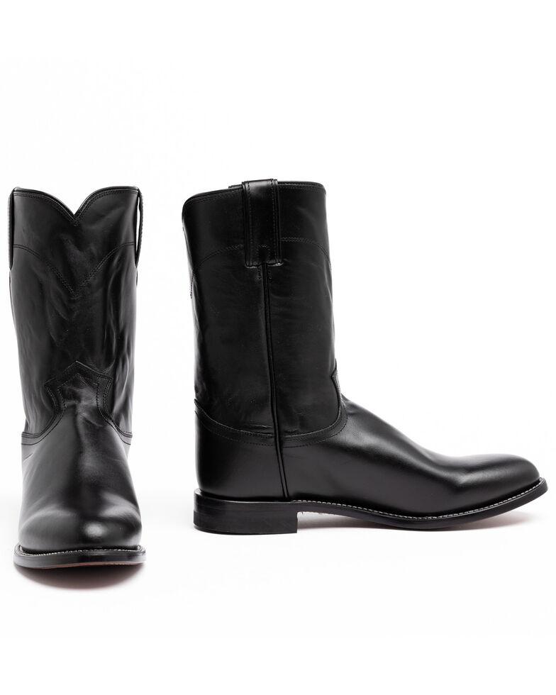 Justin Men's Classic Roper Cowboy Boots - Round Toe, Black, hi-res