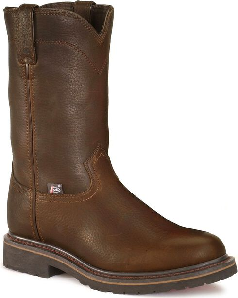 Justin JOW Worker II Pull-On Work Boots - Steel Toe, Brown, hi-res