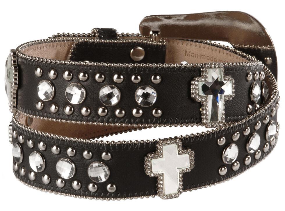 Blazin Roxx Bling Cross Leather Belt, Black, hi-res