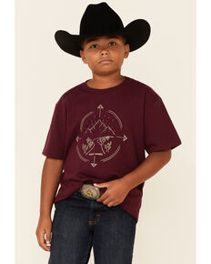 Cody James Boys' Heather Burgundy Circle Logo Graphic Short Sleeve T-Shirt , Burgundy, hi-res