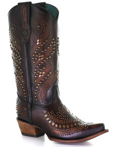 Corral Women's Sequenced Studs Western Boots - Snip Toe, Brown, hi-res