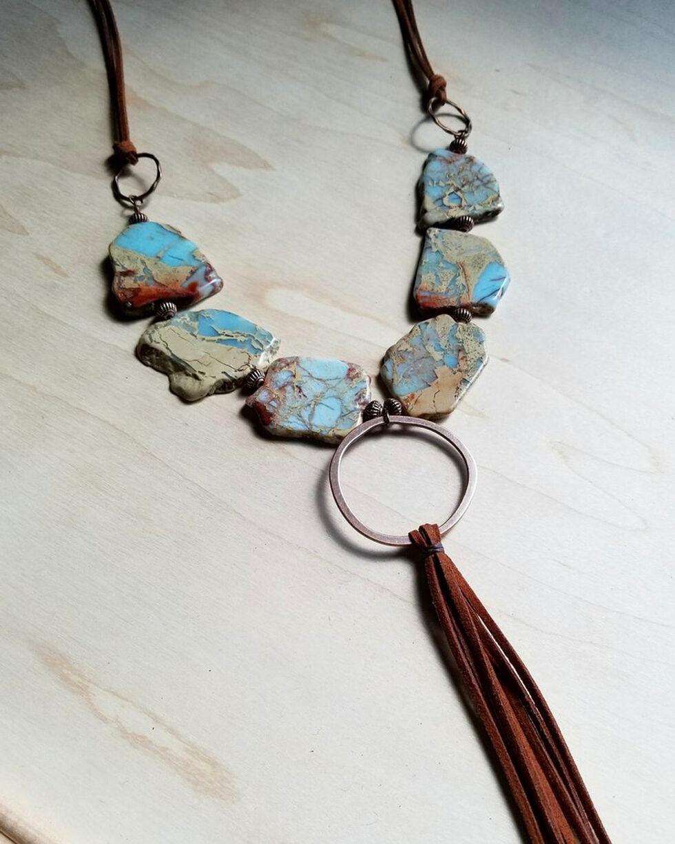Jewelry Junkie Women's Copper Hoop Tassel Aqua Terra Slab Necklace, Rust Copper, hi-res