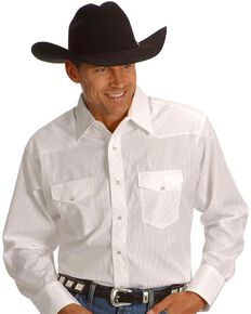 Wrangler Men's White Solid Dobby Long Sleeve Western Shirt - Big & Tall , White, hi-res