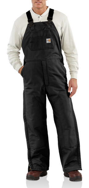 Carhartt Men's Flame-Resistant Duck Quilt-Lined Bib Overalls - Big & Tall, Black, hi-res