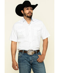 Ely Walker Men's Multi Aztec Geo Print Short Sleeve Western Shirt - Tall, White, hi-res