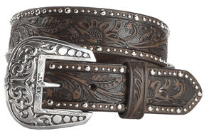 Ariat Tooled & Studded Leather Belt, Brown, hi-res