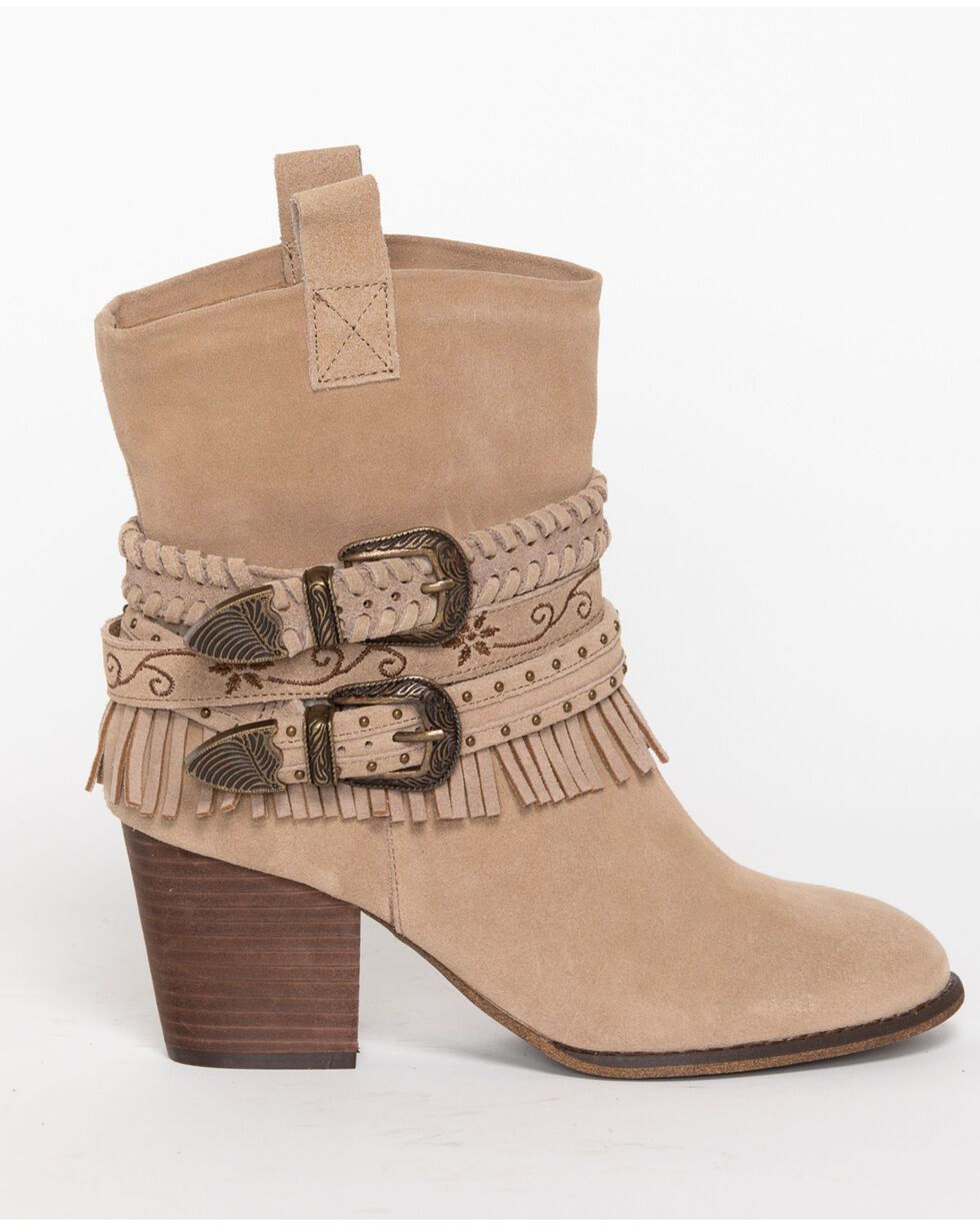 Shyanne Women's Strap Suede Booties - Round Toe, Brown, hi-res