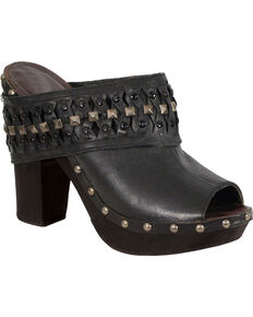 Milwaukee Leather Women's Black Peep Toe Clogs , Black, hi-res