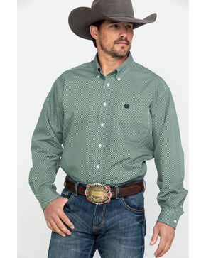 Cinch Men's Green Geo Print Button Long Sleeve Western Shirt , Green, hi-res