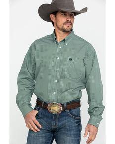 b5280228a94 Cinch Mens Green Geo Print Button Long Sleeve Western Shirt