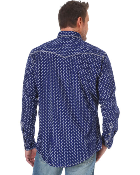 Wrangler Men's Navy 20X Competition Advanced Comfort Print Shirt - Tall, Navy, hi-res