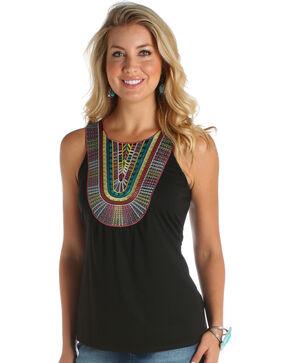 Wrangler Women's Color Applique Sleeveless Top, Black, hi-res