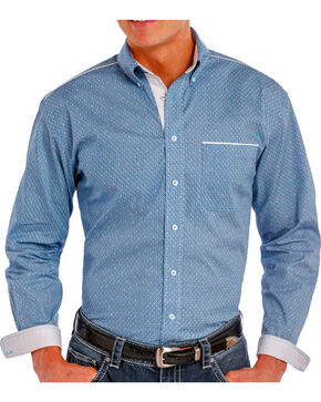 Rough Stock by Panhandle Men's Printed Long Sleeve Shirt, Turquoise, hi-res