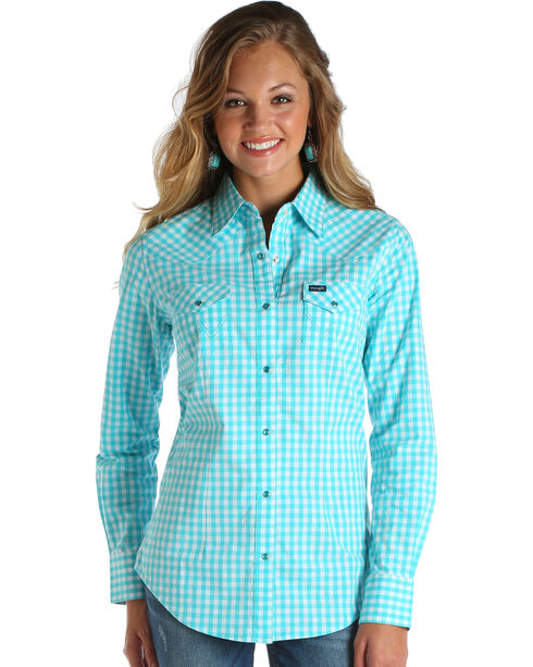 Wrangler Women's Turquoise Plaid Long Sleeve Top , Turquoise, hi-res