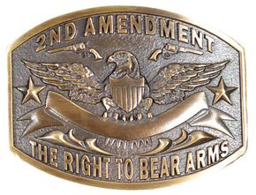 Cody James Men's 2nd Amendment Buckle, Silver, hi-res