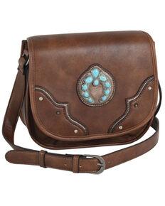 Justin Women's Turquoise Naja Concho Squash Blossom Brown Saddle Bag, Brown, hi-res