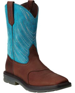 Ariat Maverick Pull-On Work Boots - Wide Square Toe, Brown, hi-res