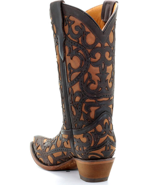 Corral Youth Girls' Brown Full Overlay Boots - Snip Toe , Brown, hi-res