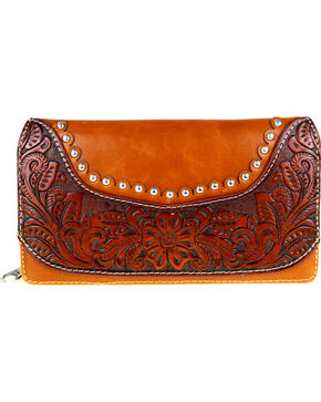 Montana West Women's Floral Tooled Wallet , Brown, hi-res