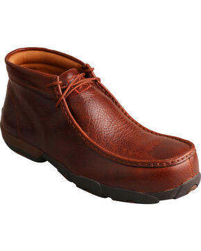 Twisted X Men's Cognac Lace-Up Driving Mocs -  Composite Safety Toe, Cognac, hi-res
