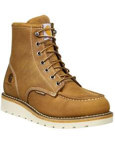 Carhartt Women's Brown Wedge Sole Waterproof Work Boots - Soft Toe, Light Brown, hi-res