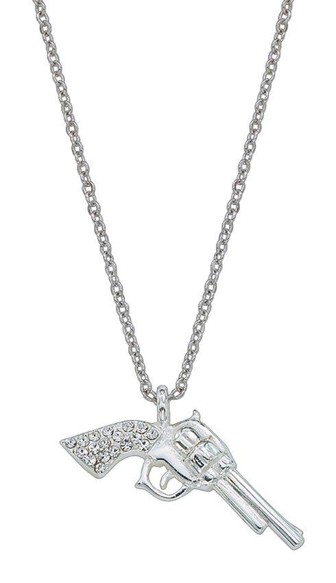Montana Silversmiths Pistol Charm Necklace, Silver, hi-res