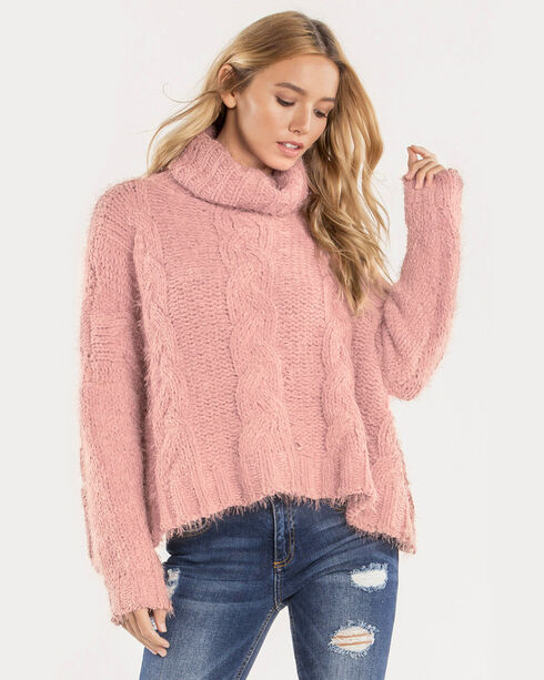 Miss Me Women's Light Pink Cropped Turtle Neck Sweater , Light Pink, hi-res